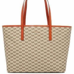 Michael kors emery large tote orange handle bag